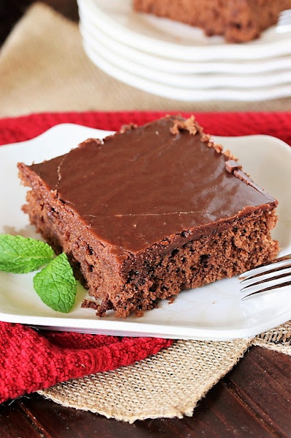 Classic Hershey's Chocolate Syrup Cake image, topped with rich boiled chocolate icing ~ it's  moist, tender, and absolutely delicious.