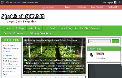Screenshot Beranda Forum dan Komunitas Pertanian Indonesia - Agroteknologi.web.id