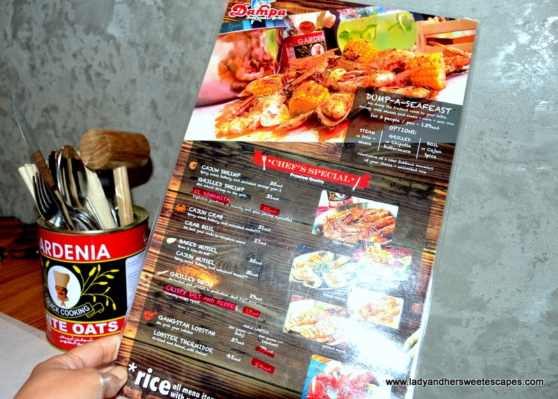 Dampa Restaurant Dubai menu