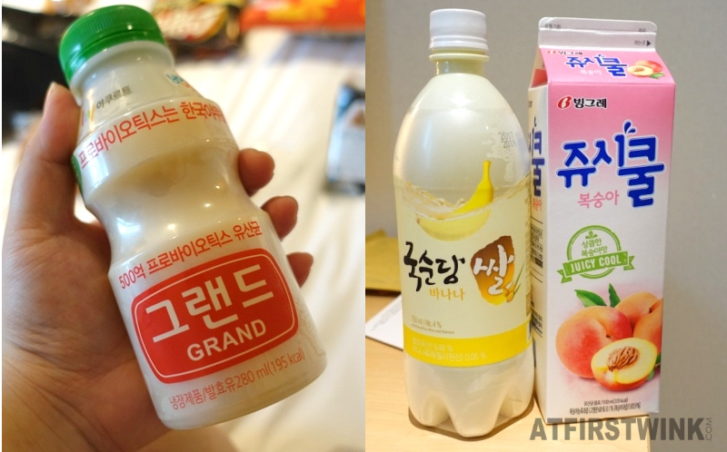 grand bottle of yakult like yoghurt drink banana flavored makgeolli peach juice