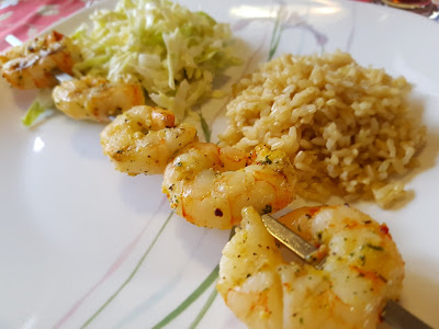 BBQ'ed Prawns with rice and coleslaw