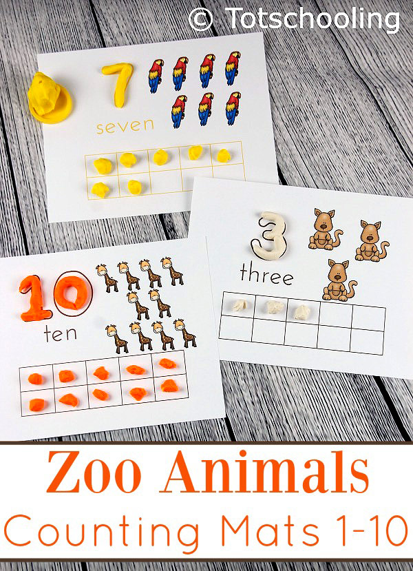 FREE playdough counting mats featuring zoo animals and ten frames for preschoolers to practice counting, number recognition and fine motor skills.