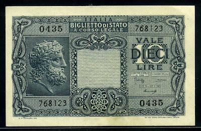 Italy money 10 Lire banknote