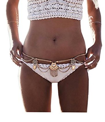 Dangle Coin Belt Dance Tassel Adjustable Waist Chain Belt Gypsy Bohemian For Women