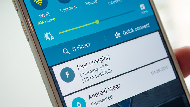Galaxy S6 notificación de carga rápida