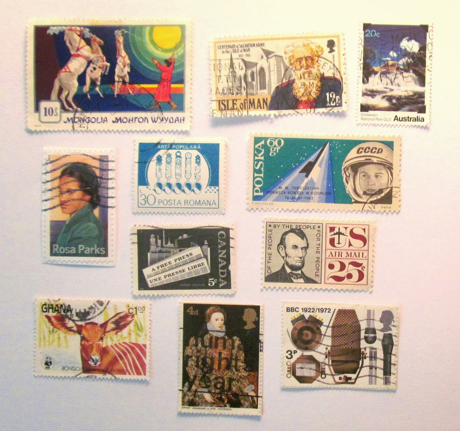 used postage stamps in crafting