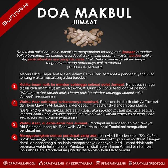 [Info Grafik] Waktu Mustajab Doa Hari Jumaat!
