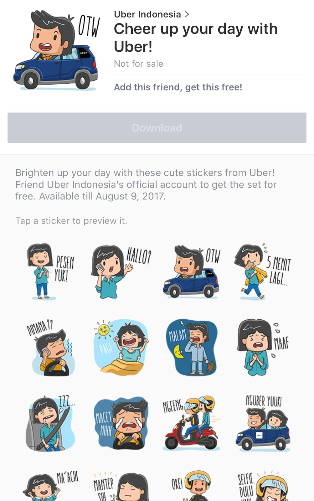 line stickers community free cheer up your day with uber sticker. Black Bedroom Furniture Sets. Home Design Ideas
