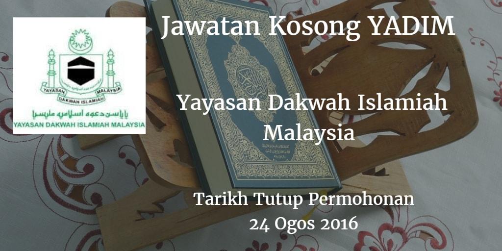 Jawatan Kosong YADIM 24 Ogos 2016