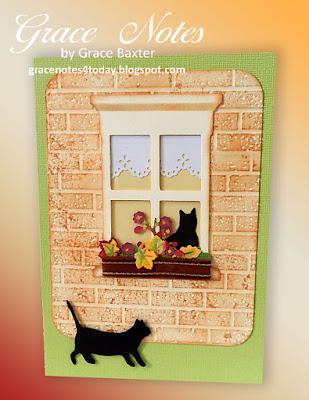 Fall window box with cats, birthday card. Designed by Grace Baxter