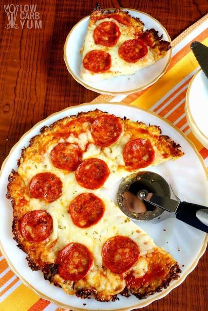 Cauliflower Pizza Crust by Low Carb Yum