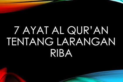 7 Ayat Dalam Al Quran Tentang Larangan Riba
