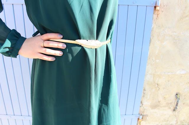 ceinture doré plume zaful