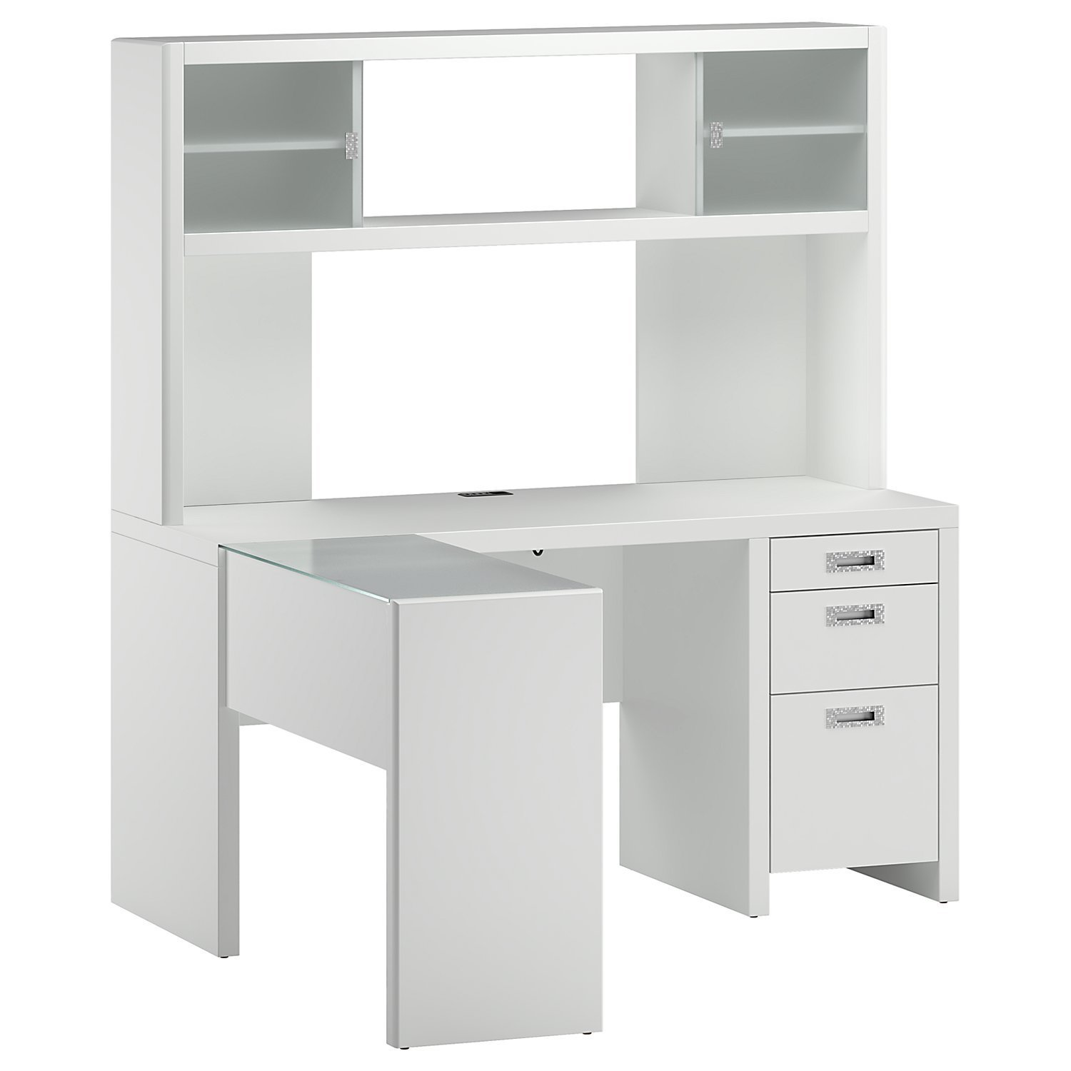 Total Fab: White & Black L-Shaped Computer Desks with Hutch