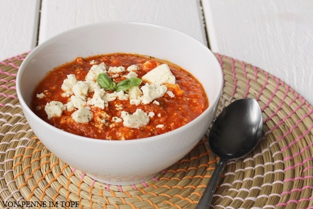 penne im topf tomaten hirse suppe mit feta. Black Bedroom Furniture Sets. Home Design Ideas