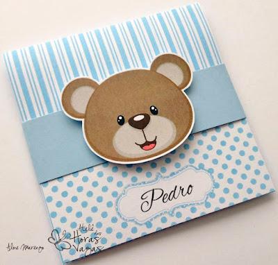 convite artesanal aniversário infantil ursinho urso azul branco menino 1 aninho delicado bebê