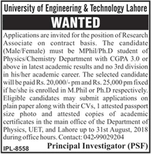 Latest Jobs In University Of Engineering And Technology 2018