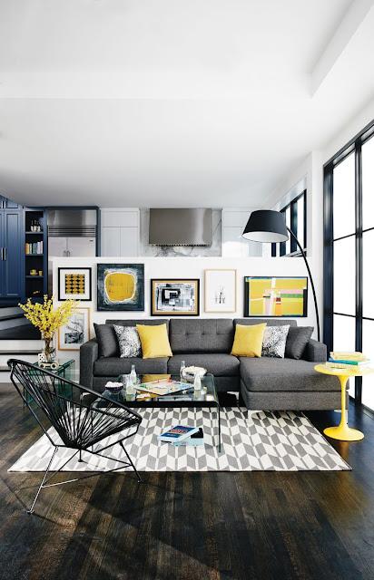 Decoração de sala de estar cinza e amarelo