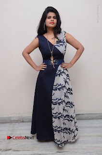 Telugu Actress Alekhya Stills in Blue Long Dress at Plus One ( 1) Audio Launch  0147.jpg