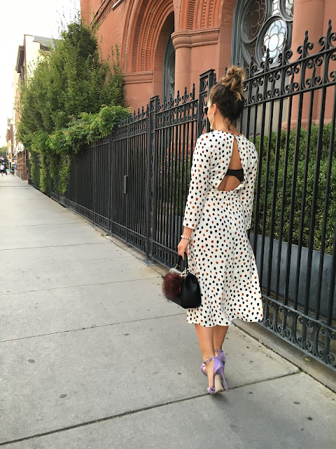 Satin heels, h&M dress, midi dress, open back dress, polka-dot dress, carrie bradshaw outfit, canadian blogger, how to wear a midi dress, top fashion blogger, purple heels, toronto blogger, modne blogerke, kako nositi midi haljinu, boomerang, Instagram