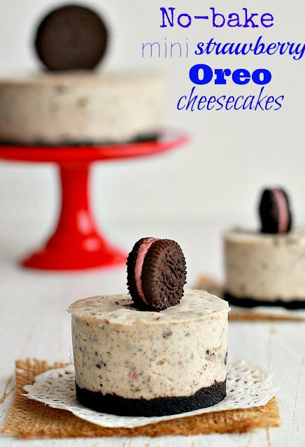 my bare cupboard: No-bake mini strawberry Oreo cheesecakes
