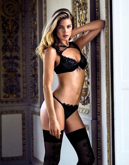 Doutzen Kroes strips to lingerie for Hunkemoller