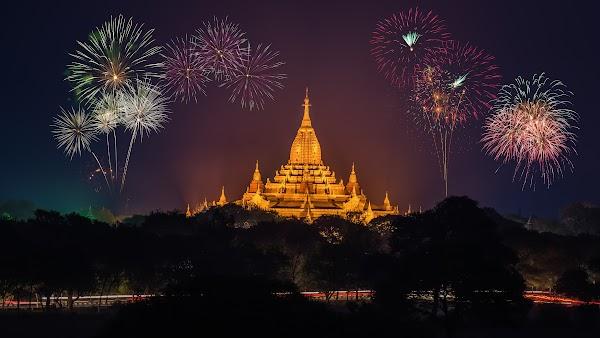 Fireworks above Ananda Phato Temple