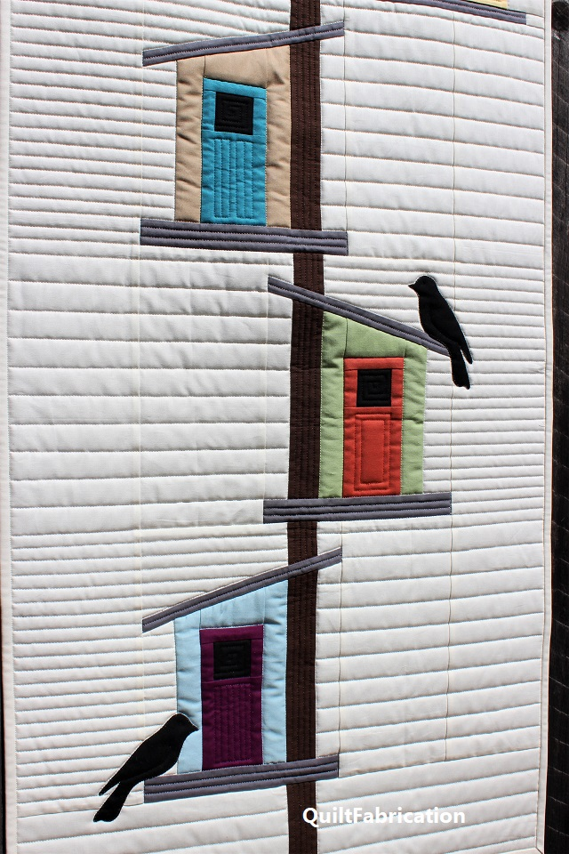creative modern birdhouse display by QuiltFabrication