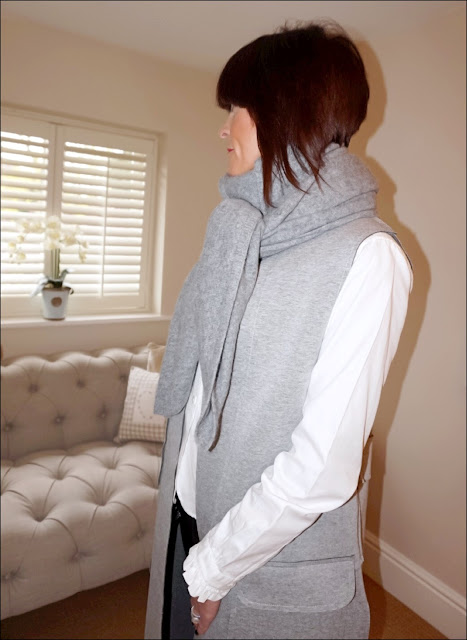 My Midlife Fashion, Hope Fashion, Long line waistcoat light grey, zara cashmere scarf, uniqlo high frilled blouse