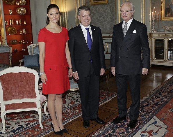Crown Princess Victoria wears Prada Short Sleeve Mini Dress, Tabitha Simmons Pumps, Epoch Scandinavian White Watches