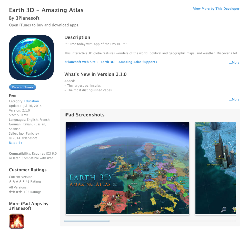 UCET Free iOS App Today: Earth 3D - Amazing Atlas - UCET