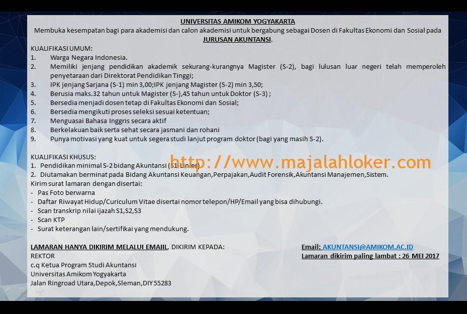 Lowongan Dosen Akuntansi Universitas Amikom Yogyakarta Mei