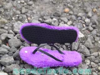 Sandal Bulu Krincing Warna Ungu Cantik