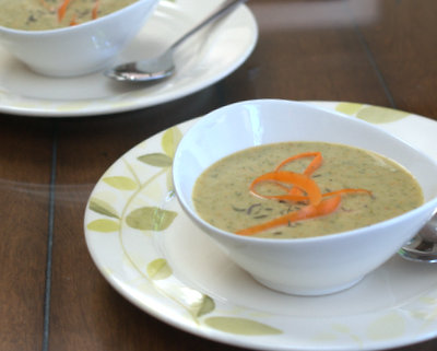 Cream of Broccoli & Carrot Soup ♥ AVeggieVenture.com