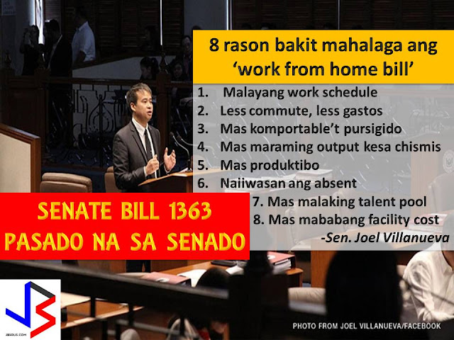 The Philippines is one of the countries in the world that has worsening traffic situation especially in big cities like Metro Manila.  And because of the too much and long traffic, many workers are already tired before they reach their workplace, which means productivity in work is affected.  With Senate Bill No. 1363 or the Telecommuting Act of 2017, this thing may lessen.  This is after Philippine Senate voted and passed the bill on third and final reading that encouraged companies to adopt a work-from-home program.