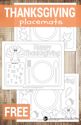 free colorable thanksgiving placemats