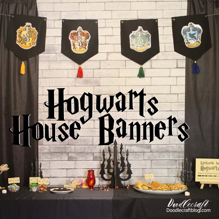 Hogwarts house banners made with felt, printed designs and tassels.