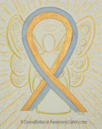 Pediatric Brain Cancer Gold and Gray Awareness Ribbon Angel Painting