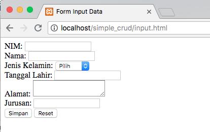tutorial php crud sederhana