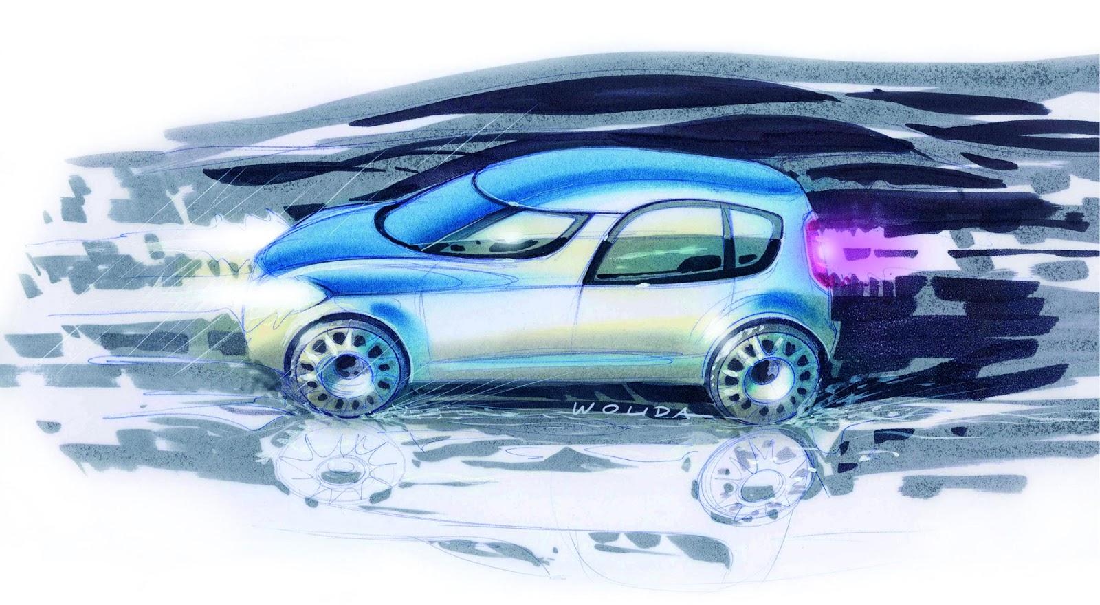 Skoda Roomster sketch by Peter Wouda - final theme artwork