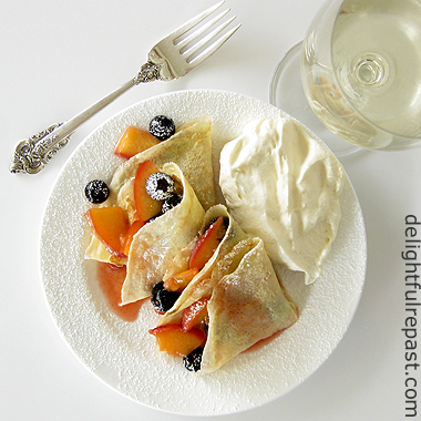 Crepes with Peaches and Blueberries - Paired with Moscato / www.delightfulrepast.com