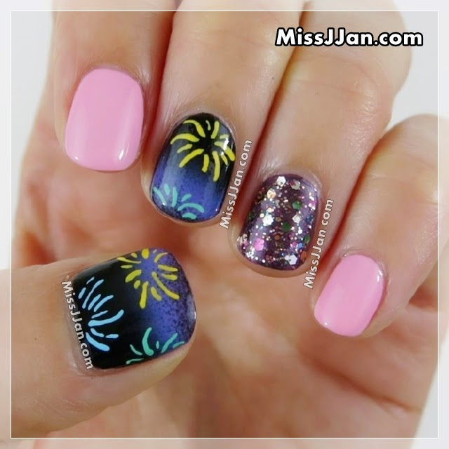 MissJJan's Beauty Blog : Fireworks Nail Art  (Short ...