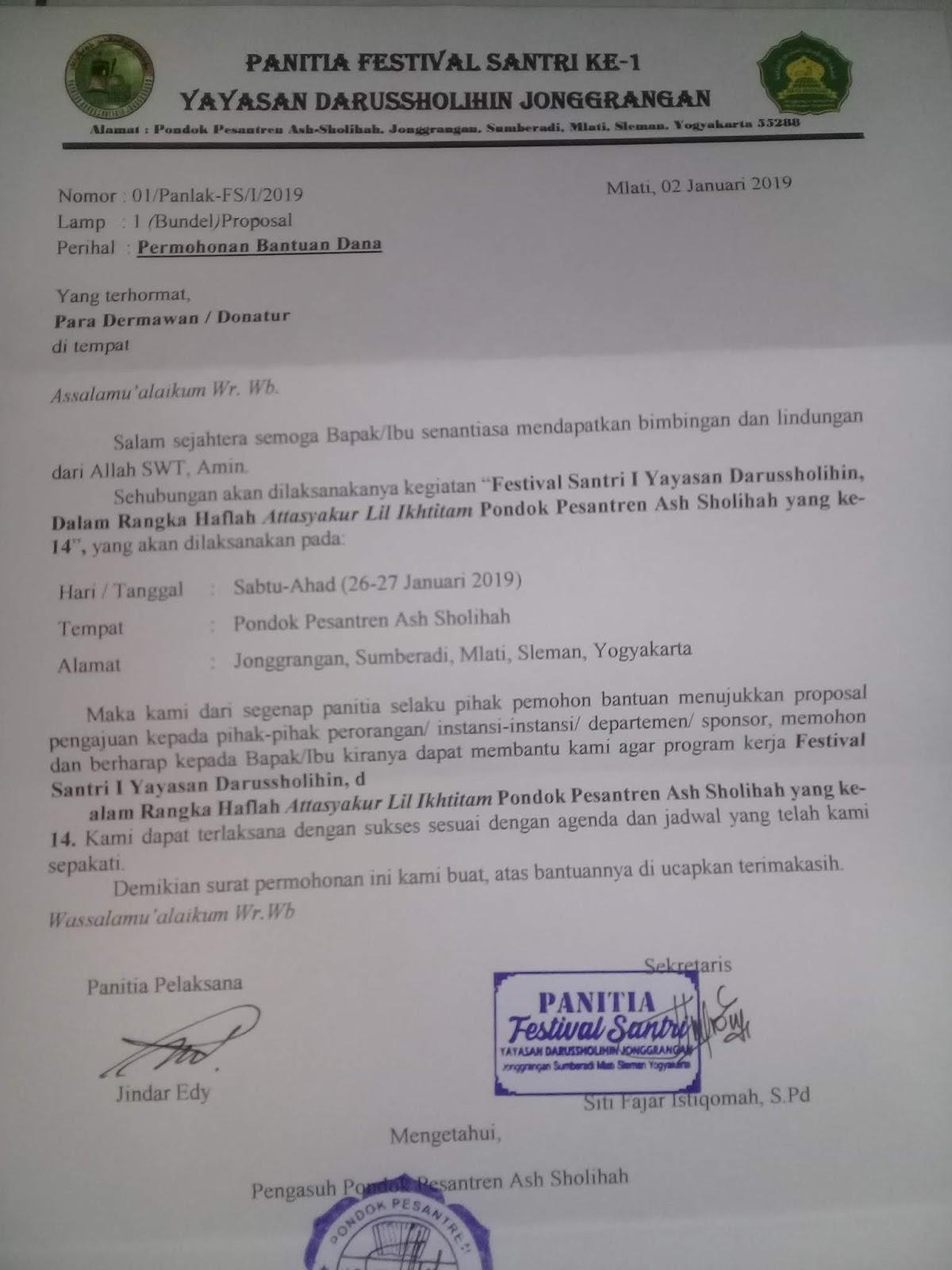 Contoh Surat Permintaan Permohonan Bantuan Dana Proposal
