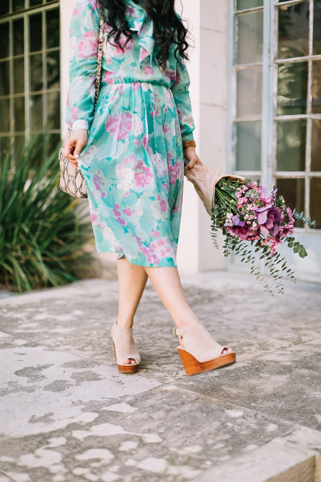 central market flowers, vintage floral dress, nude wedges from kenneth cole