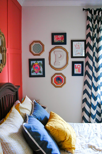 Navy, coral and pink girl room