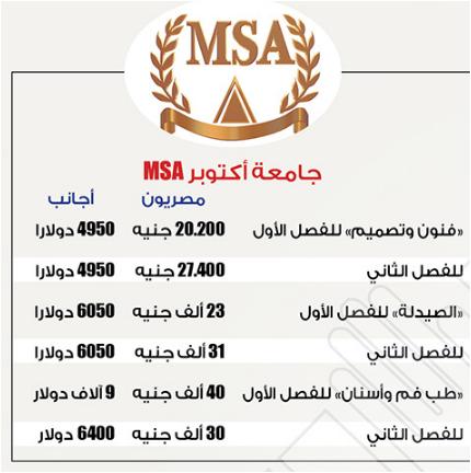 مصروفات جامعة اكتوبر MSA للعام 2017 لجميع الكليات (الجامعات الخاصة)