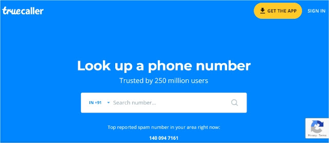 Truecaller Home Page