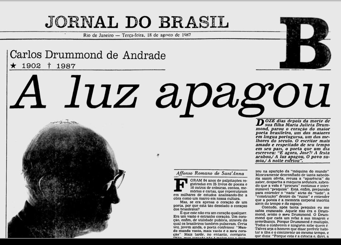 História UPF: 17 de agosto de 1987 - CIAO! Morre Carlos Drummond de Andrade