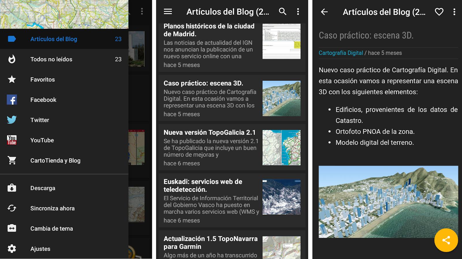 menu principal de digimapas app seccion de articulos del blog y articulo en detalle