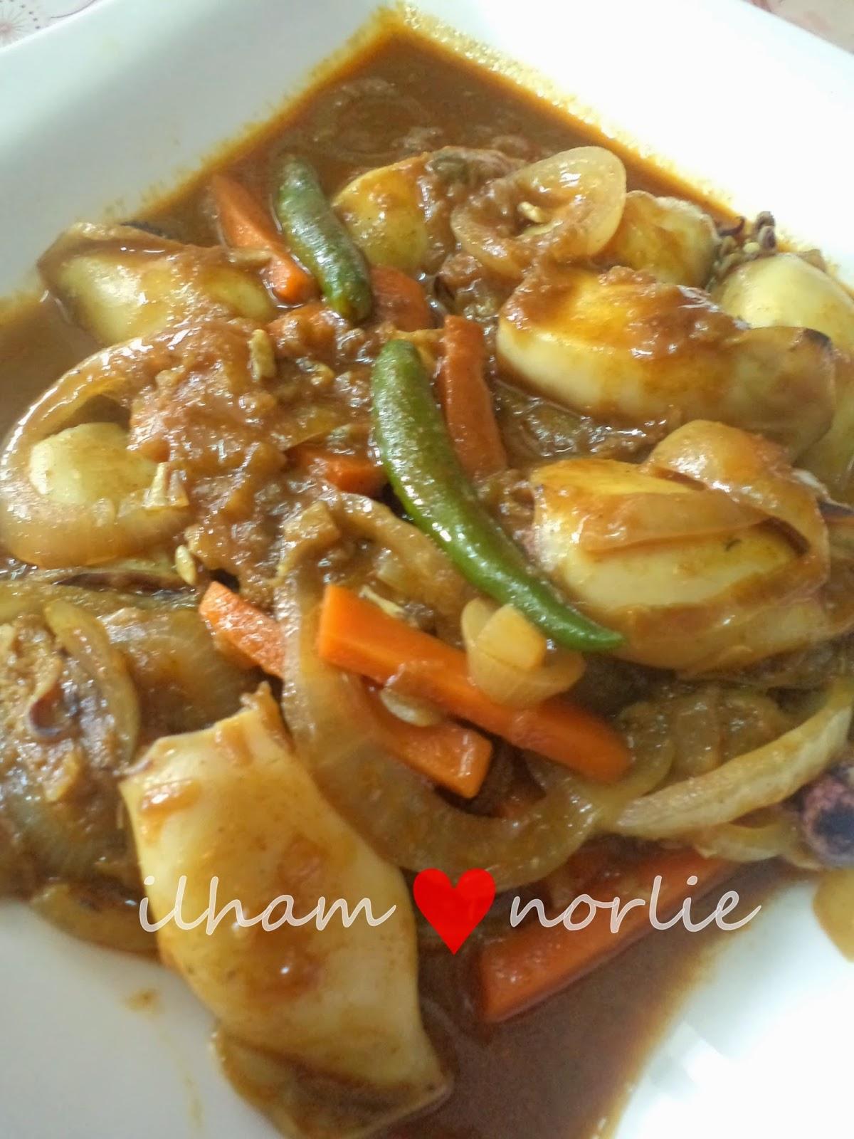 resepi sotong masak kari  mudah kari sotong aneka masakan enak resepi sotong bakar Resepi Rendang Ayam Tanpa Tumis Enak dan Mudah